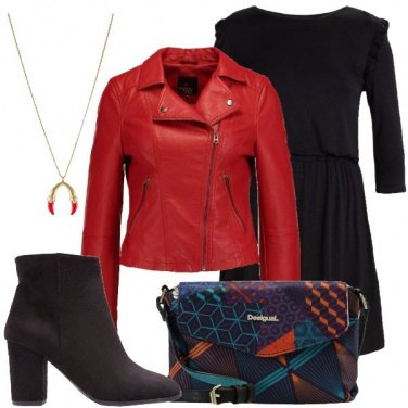 Outfit La giacca in pelle rossa