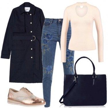 Outfit Il jeans fiorito