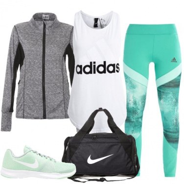 Outfit Tocchi di verde in palestra