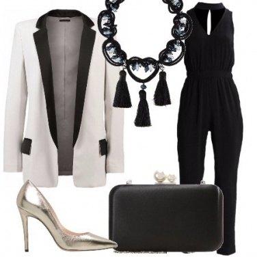Outfit Bianco nero e silver