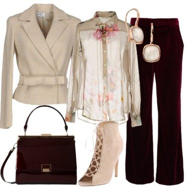 Outfit Bordeaux e beige