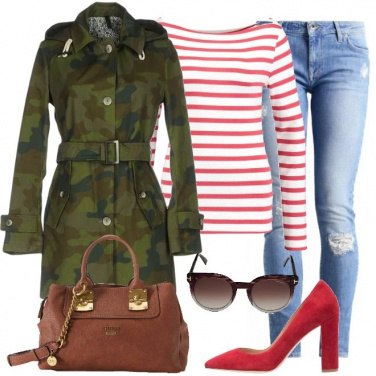 Outfit Un trench in camouflage