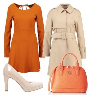 Outfit Arancione e beige