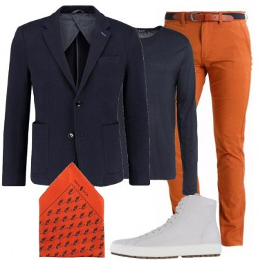 Outfit Sneakers alte e giacca trendy