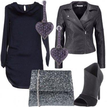 Outfit Blu e grigio open toe