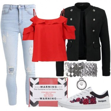 Outfit Giacca jeans e sneakers