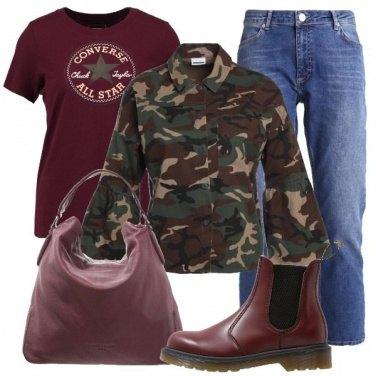 Outfit Camouflage e vinaccia