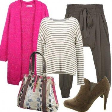 Outfit Righe e fucsia