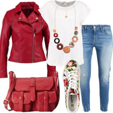 Outfit Sneakers stampa floreale