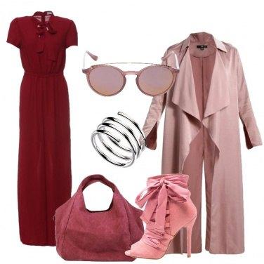 Outfit Rosso scuro e rosa