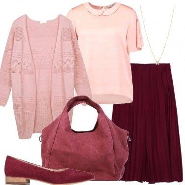 Outfit Bordeaux e rosa