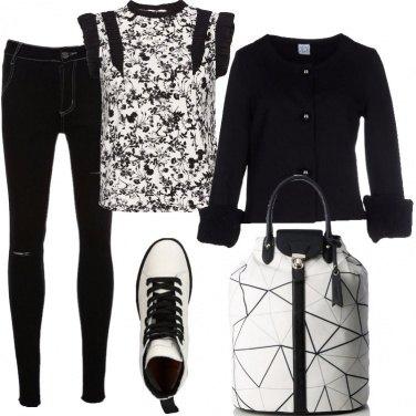 Outfit Graffiti floreali in bianco e nero