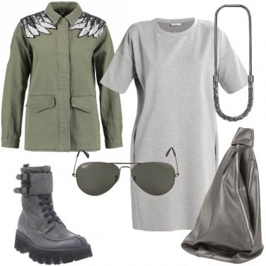 Outfit Militare con paillettes