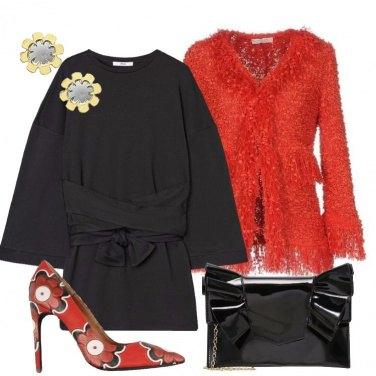 Outfit Stupisci in nero e rosso