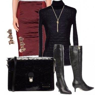 Outfit Pelle e raso