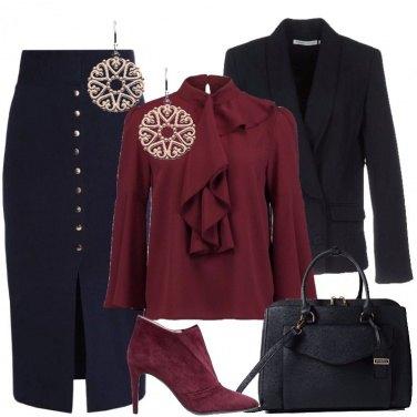 Outfit Blu e bordeaux