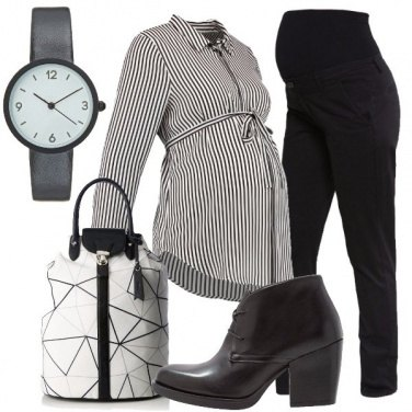 Outfit Fiocco bianco e nero