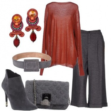Outfit Grigio e ruggine
