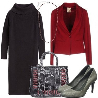 Outfit Il tubino nero col rosso