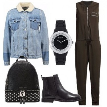 Outfit Giacca denim e jumpsuit