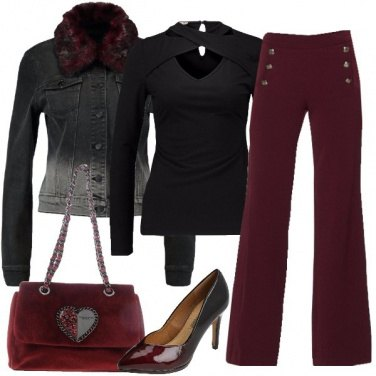 Outfit Sfumature di nero e bordeaux
