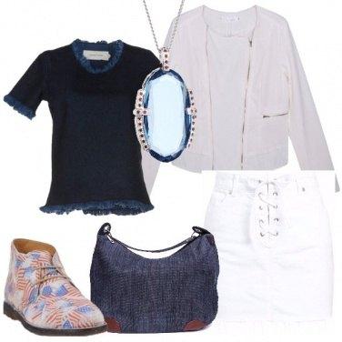 Outfit Denim blu e denim bianco