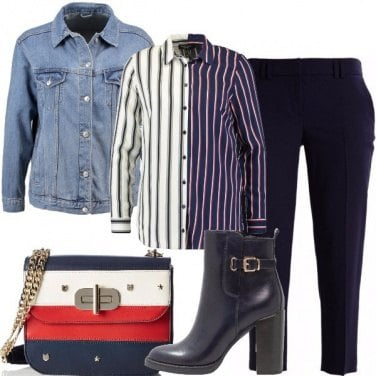 Outfit Giacchino di jeans e mille righe