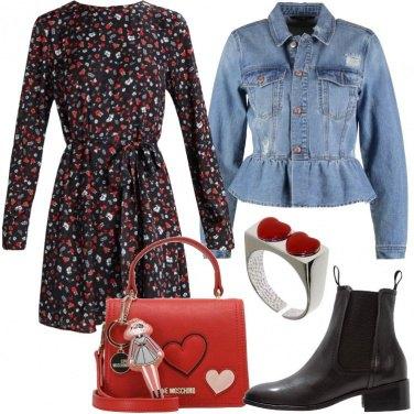 Outfit La giacca in jeans e abito a fiori