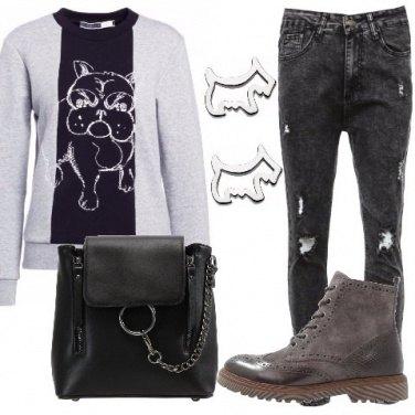 Outfit Felpa bicolore