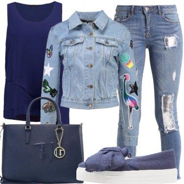 Outfit Il giacchino di jeans con le patch