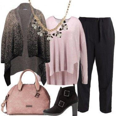 Outfit Il cardigan grigio scuro sfumato
