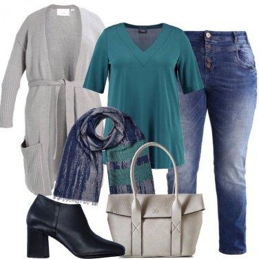 Outfit Il cardigan grigio chiaro