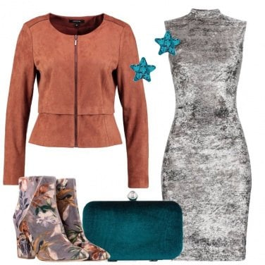Outfit Stivaletti in velvet a fiori