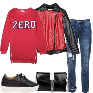 Outfit Con la felpa rossa