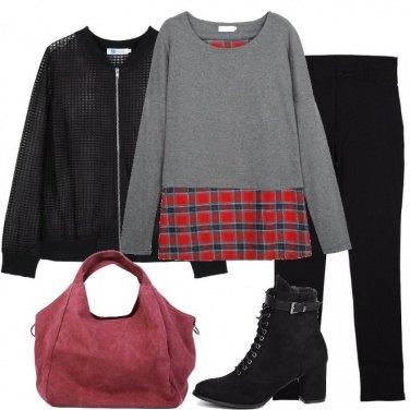 Outfit Felpa scozzese
