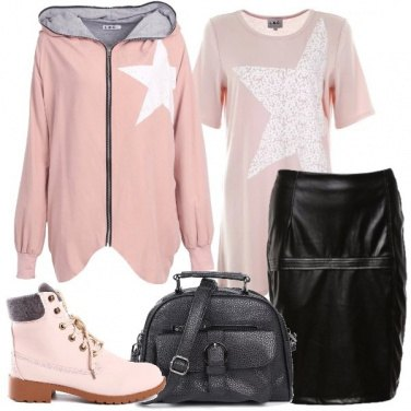 Outfit Urban in nero e rosa