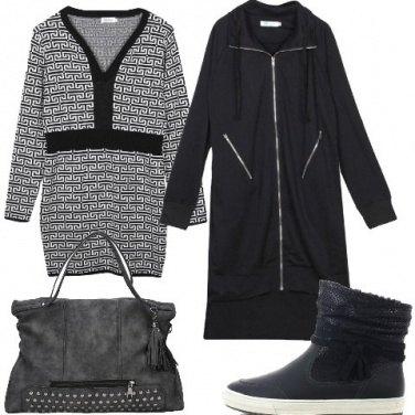 Outfit Maxi felpa e mini abito
