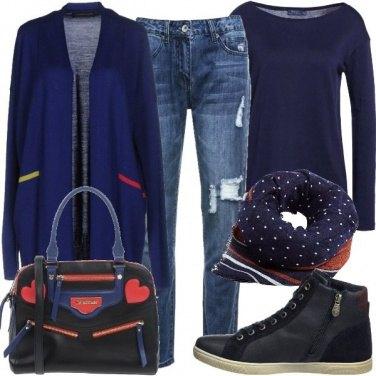 Outfit Cardigan in blu