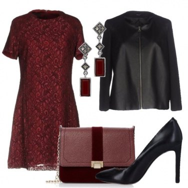 Outfit In bordeaux e nero
