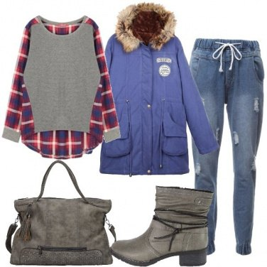 Outfit Parka blu