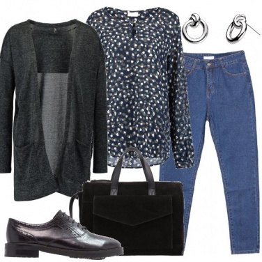 Outfit Jeans blusa e cardigan