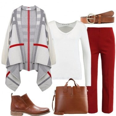 Outfit Cardigan oversize rigato