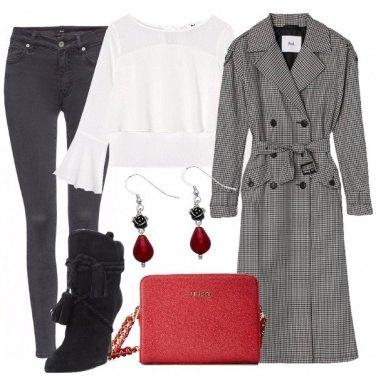 Outfit Trench pied de poule