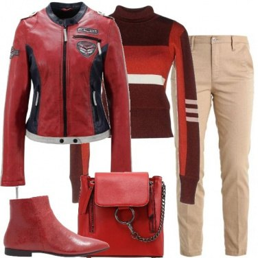 Outfit Biker rosso
