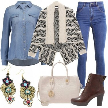 Outfit Jeans basico e cardigan
