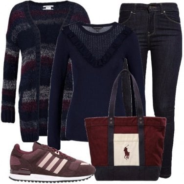 Outfit Il cardigan a righe