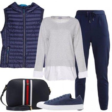 Outfit Il gilet blu trapuntato