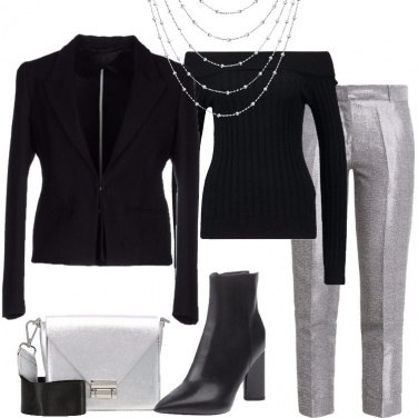 Outfit Lampi argento sul nero