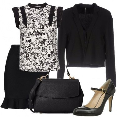 Outfit Floreale in bianco e nero