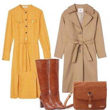 Outfit Senape beige e cuoio